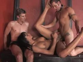 Slave guy fucks hot shemales mistress in threesome