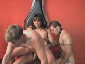 Hot beautiful shemale fucks slave guys in red room