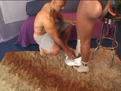 Exotic ebony tranny licked by bald bloke on carpet