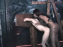 Slave guy fucked by ebony black shemale and jizzes