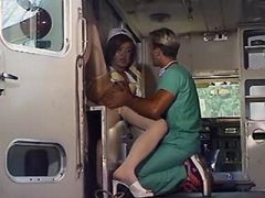 Doctor drilling asian shemale nurse