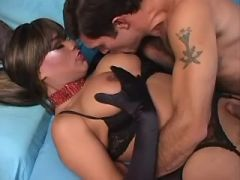 Yummy shemale cums and gets cumload in her mouth