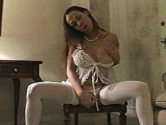 Latin shemale in stockings with huge cock cums