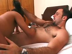 Nice ethnic shemale gets deep fuck and cumload