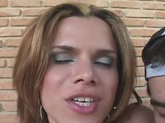 Big beautiful tgirl gets cum after fucking outdoor