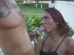 Redhead tgirl catches facial outdoor after fucking