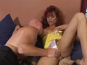 Beautiful redhead shemale gets cum on her big tits