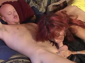 Lewd bald bloke fucking with beautiful redhead tranny